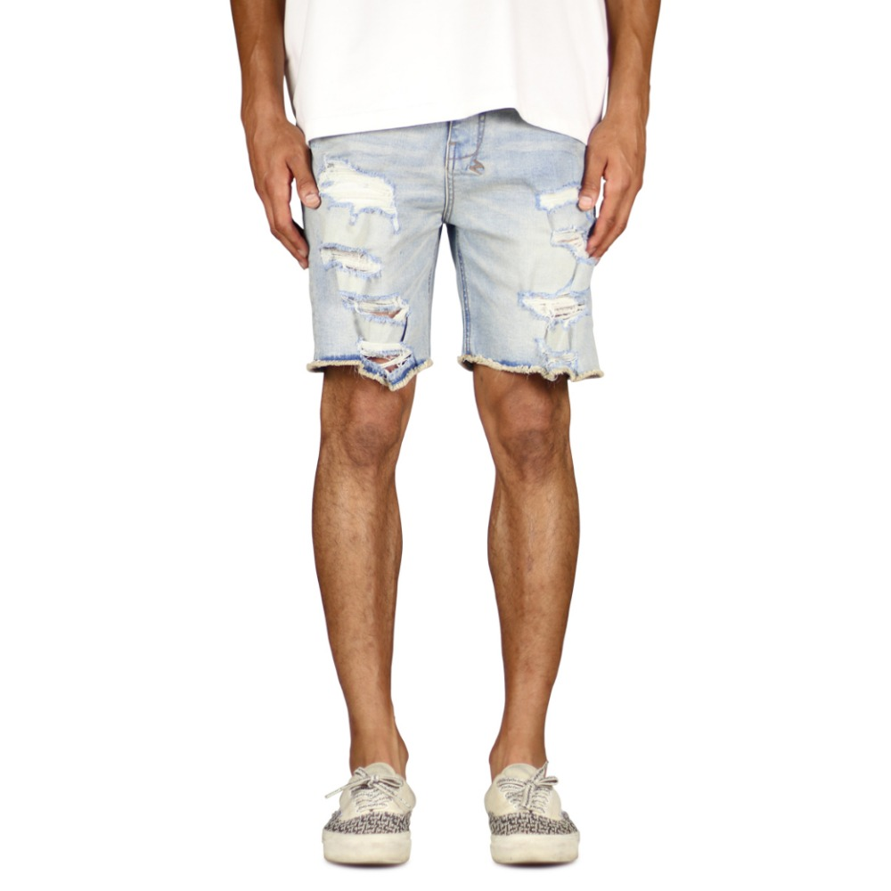 Hyper Denim Light Blue Destroyed Denim Short